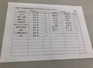 """大成食品主催ラーメン店商品開発研究会""""麺""""夢塾出欠表"""